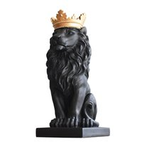 Wholesale crown decor for sale - Group buy INS Resin Royal Crown Lion Sculpture Lion King Statue Home Animal Mascot Constellation Decor Ornament Craft