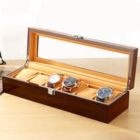 caixas de relógio de acrílico venda por atacado-Peças de relógio personalizado de luxo de madeira de acrílico embalagem relógio winder case box 6