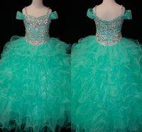 vestido de bola verde para crianças venda por atacado-Cristais Hortelã Verde Flor Meninas Vestidos Longo Pageant Da Menina Da Criança Crianças Para A Menina Infantil Barato Glitz Comunhão Vestidos de Baile de Baile