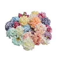 coronas de bricolaje al por mayor-Cabeza de flor artificial 50 unids / lote 4.5 cm hortensia hecho a mano fiesta de boda decoración del hogar DIY guirnalda regalo álbum de recortes artesanal flor EEA379