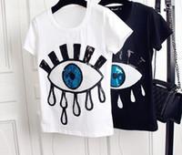 4xl unterhemden großhandel-Big Eyes Womens Designer Tshirts Mode Applique Stickerei Tops Kurzarm Shirts Niedlich Casual Girls Unterhemd