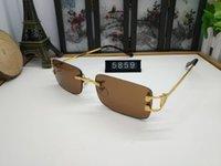 óculos transparentes de grandes dimensões venda por atacado-Designer de marca Oversized Óculos De Sol Sem Aro para Homens e Mulheres óculos de sol retro Estilo Lente Clara óculos de Sol Armação de Metal chifre de búfalo óculos