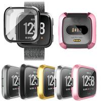 самые тонкие часы оптовых-Ударопрочный ультра тонкий защитный экран для всех сторон ТПУ чехол для Fitbit Versa Smart Watch Bands