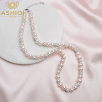 Wholesale natural green clay for sale - Group buy ASHIQI Real Natural Freshwater Pearl Necklace with White Clay Zircon Ball Jewelry for Women Gifts