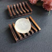 jabón vintage al por mayor-Estilo de la vendimia de baño de jabón hecho a mano de la bandeja de madera Plato Box platos de jabón de madera de titular accesorios para el hogar accesorios de baño