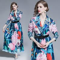 gece elbisesi pilili yaka toptan satış-Mizaç Yaka Yaka Elbise Kadınlar için Uzun Kollu Pileli Maxi Elbise Moda Lüks Balo Abiye Sonbahar Yeni Bayan Elbise