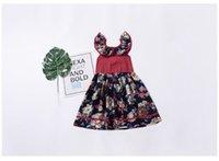 yüksek ruffle yaka toptan satış-INS Kız Çocuk Giyim Yaz Kız Ruffles Yaka Çiçek Tasarım Kolsuz Elbise yüksek kalite% 100% pamuk Kız Prenses elbise