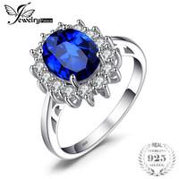 aqua blue rings toptan satış-Jewelrypalace prenses Diana William Kate Middleton'ın 3.2ct oluşturulan mavi safir nişan kadınlar için 925 ayar gümüş yüzük c18122801