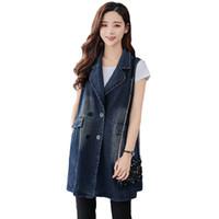 ingrosso maglia lunga jean-Vintage Plus Size Denim Gilet Donna Casual Gilet Gilet lungo senza maniche Gilet donna Streetwear Denim Vest Jacket Q1258