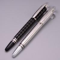 canetas de cristal branco venda por atacado-Pena de tinta quadriculado preta luxuosa da pena de fonte de Classique 14k 4810 Pena de cristal superior da tinta da estrela branca com número de série