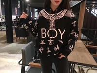 корейский свитер мальчика моды оптовых-Весна новый дизайнер корейской версии высокого качества уличной моды BOY Eagle с капюшоном полная печать балахон свободные и мужские и женские пары свитер