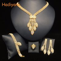 HADIYANA 4pcs Sets Sparkling Crystal Wedding Bridal Shinning Jewelry Accessory For Bride Party Date Queen Gift BN5766