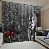 hermosas cortinas para el dormitorio al por mayor-Paisaje de la ciudad Impresión con hermoso vestido largo negro Marilyn Monroe Para sala de estar dormitorio cortina opaca
