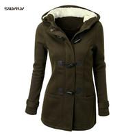 Wholesale woolen long coat for ladies resale online - SWYIVY Winter Jacket Women Woolen Coat Ladies Fur Hooded Women s Wool Coat Jacket Female Mid Long For Woman Ourwear