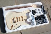 rocking electric guitar al por mayor-Factory Custom Electric Guitar Kit (partes) con mástil de arce, diapasón de palisandro, herrajes cromados, doble roca, guitarra DIY