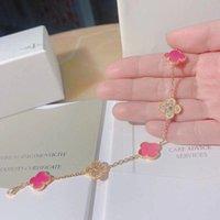 fuchsia armband großhandel-S925 reinem Silber Markennamen Armband Fünf Blumen mit Natur Fuchsia Achat und Diamanten Colver für Frauen Hochzeit Schmuck Geschenk PS6288A