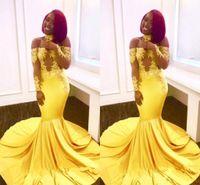 ingrosso vestiti di promenade gialli in vendita-Giallo sirena africana abiti da sera 2019 nuovo design personalizzato vendite calde sexy off-the-spalla pizzo manica lunga abiti da ballo di promenade del partito e032