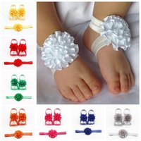 Wholesale baby girl hair accessories headbands for sale - newborn baby girls flower headband barefoot sandals sets satin foot flower hair accessories for photography props colors