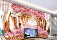 фото фото оптовых-Пользовательские Фото Обои 3D Аннотация Оригинальный творческий балкон вишневый цвет Авен Фон Росписи Настенной Живописи Гостиная Диван ТВ Фон