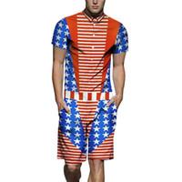 trajes de bandera al por mayor-Mens Summer 19ss Chándales de moda de una pieza Bandera de los EE. UU. Camisas de diseño Impresos en 3D conjuntos de carga Shorts Trajes casuales