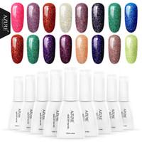 gel glitter 12 uv venda por atacado-Azure Beleza 12 ML Rainbow UV Unhas de Gel Polonês Brilho Néon Efeito Led Verniz Verniz Semi Permanente Brilhante Led Gel Laca
