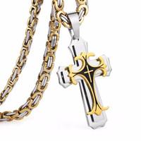 Wholesale bra pendants for sale - Group buy Stainless Steel Necklaces Pendants Gold Black Tone Fleur de lis Cross Pendant Necklace Long Byzantine Chain Men Jewelry NZ004acf5
