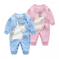 Wholesale newborn baby warm clothes resale online - Unicorn baby knit warm jumpsuits Cute Newborn Girl Animal Long Sleeve Striped Unicorn Romper Jumpsuit Outfits buttons Clothes LJJT216