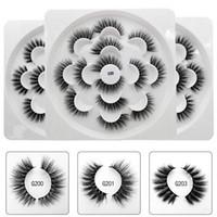 minks toptan satış-3D Vizon Saç Lotus Kirpikler El Yapımı Kanatlı Tam Şerit Lashes 7 Çift / paket Göz Makyajı Yanlış Göz Kirpik Ücretsiz Nakliye