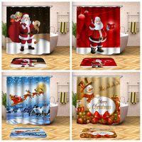 Noël Rideau De Douche Père Noël Bonhomme De Neige Cloche Arbres De Noël Elk Salle De Bain Rideau De Douche Imperméable Polyester Tissu à Crochets