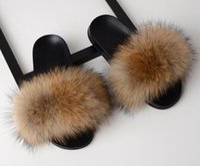 плюшевые плоские туфли для женщин оптовых-Indoor Shoes Fox Fur Slippers Summer Women's Fur Slippers Ladies Real Fox Fur Furry Ladies Cute Plush Fox Hair Fluffy Slippers Flat