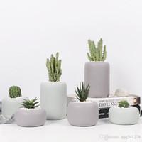 ingrosso bonsai-Set di fioriere in ceramica cilindriche - 3 pezzi di vaso in porcellana opaca Mini vasi di piante grasse geometriche vaso di fiori piante bonsai