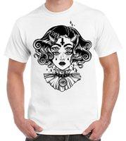 deri dövmeli toptan satış-Şeytan Kız Şeytani Çapraz Dövme Büyük Baskı erkek T-Shirt ceket hırvatistan deri denim elbise camiseta