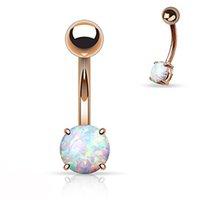 bauchnabelanhänger großhandel-Showlove-1pc Rose Gold Prong Set Opal Edelstein Bauchnabel Ringe Piercing Bar Charming Körperschmuck 14G
