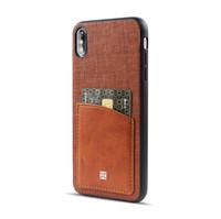 étui iphone carte de visite achat en gros de-Pour Iphone Xr Xs Max 6 7 8 X Plus Carte De Chiffon D'affaires Carte De Téléphone De Poche Deux Dans Un Cas Dur de Téléphone Cellulaire