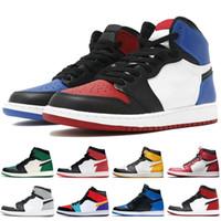 ingrosso scarpe da uomo-Nuovo Jordan Jumpman 1 1s High OG Mens Obsidian Royal Toe scarpe da basket da uomo Chicago sneaker sportive di alta qualità Low Travis Scotts Sneakers