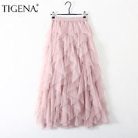 frauen rosa tutu röcke großhandel-Mode-Design lange Maxi Tutu Tüll Röcke Frauen Herbst Winter koreanische hohe Taille Faltenrock weiblich schwarz rosa