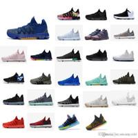 zapatos kd medio negro al por mayor-Zapatillas de baloncesto KD 10 para hombre baratas para la venta MVP Azul Oro Rojo Verde Negro Floral BHM kds Kevin Durant x botas de media caña botas KD10 con caja