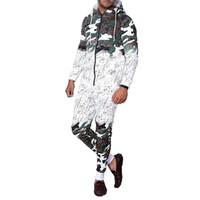 ingrosso lavoro di cardigan-ZOGAA Autunno 2 pezzi Set Casual Work Wear Cardigan con cappuccio Moda Camouflage Stampa Uomo Hombre Tuta Sudore Abiti Uomo