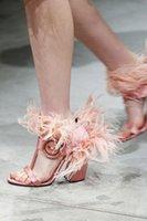 ingrosso scarpe tacco a blocchi rosa-Stivaletti stile Roma Tacchi a spillo Donna Sandali Scarpe con tacco alto di piume rosse e rosse Décolleté con cinturino alla caviglia