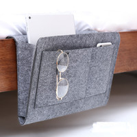 Wholesale phone storage box holder for sale - Group buy Felt Bedside Sofa Hanging Holder Storage Bag Multifunctional Organizer Box Magazine Smart Phone Remote Controll Storage Bags Pockets GGA2139