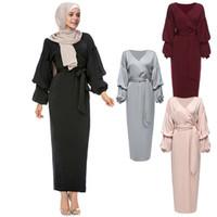 vestidos islámicos hijab al por mayor-Kaftan Abaya Robe Dubai Islam Vestido largo musulmán Hijab Qatar Emiratos Árabes Unidos Omán Caftán Marocain Abayas para las mujeres turco ropa islámica