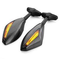 spiegel indikatoren groihandel-Motorrad-gelbe LED-Blinker-Blinker-Anzeige Seitenmarkierung Integrierter Carbon-Look mit Racing-Rückspiegel