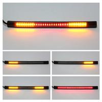 motosiklet kuyruk sinyal lambası toptan satış-Yeni Motosiklet Işık Çubuğu Şerit Kuyruk Fren Dur Dönüş Sinyali Plaka Işık Entegre 3528 SMD 48 LED Kırmızı Amber Renk