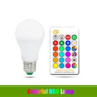 control remoto dhl al por mayor-DHL E27 Bombilla LED 5W 10W 15W RGB + Blanco 16 Color LED Lámpara AC85-265V Bombilla RGB cambiable con control remoto + Función de memoria