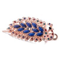canlı takılar toptan satış-Canlı Peacock Saç Klip Kadınlar Için Marka Saç Takı Retro Reçine Kristal Süsler Trendy Firkete Düğün Aksesuarları