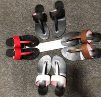 suela de goma superior de cuero al por mayor-Marmont T-Correa Sandalia de cuero Elegante sandalia con doble parte superior plana de cuero y forro / Caucho G Sole Flip Flop Slipper G007