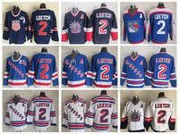 abd yamaları toptan satış-1998 Liberty Vintage # 2 Brian Leetch Formaları 2004 ABD 75. # 2 New York Rangers Brian Leetch Hokeyi Forması En Kaliteli Bir Yama Dikişli