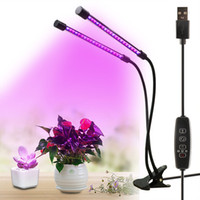 lámpara crecer al por mayor-Lámpara LED de cultivo de luz de espectro completo de planta con clip, tres cabezas, invernadero, flor de cultivo, lámpara de planta, regulable, iluminación para acuarios