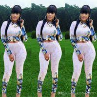 ingrosso maglione sexy stretto-moda stampa tute da donna sexy crop top camicia maglione + pantaloni tuta vestito a due pezzi lady club pantaloni stretti tuta sportiva vestito casual