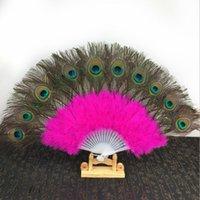 ingrosso ventilatore di piuma del pavone del pavone-New Feac Peacock Fans 2019 Wedding Bridal Gift Carnival fan di ballo Party favour 9 colori disponibili